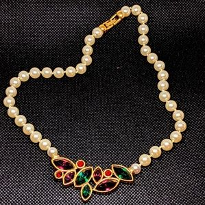 Vintage Swarovski Pearl and Rhinestone Necklace